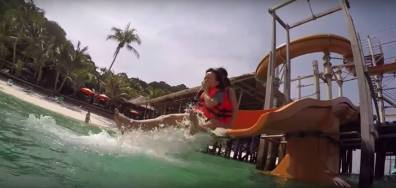 Water slide splash.