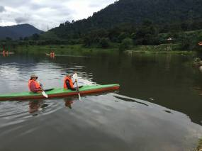 Kayaking in the lake.