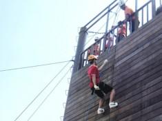 Wall climbing.
