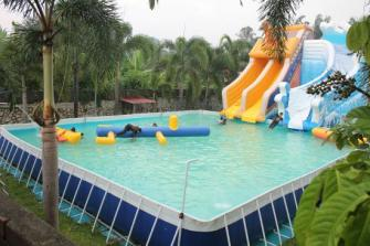 Inflatable water park.