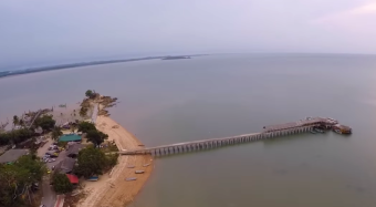 Aerial view of the jetty.