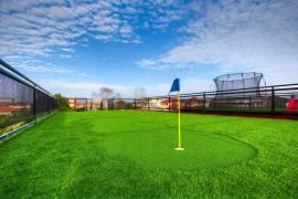 Mini golf putting.