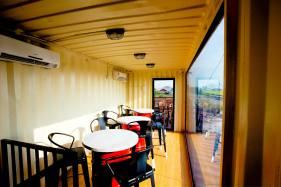 Inside the cafe.