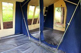Inside tent.