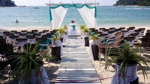 Specially planned wedding at the beach.